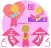 SAHM Stay At Home Mom or Working Mum Illustration Stock Photo