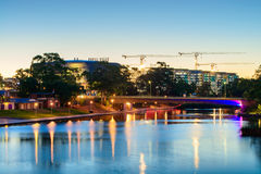 SAHMRI and NewRAH at dusk by Torrens River. Very long exposure e Stock Photos