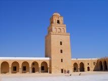 Sahn Courtyard and Minaret at Kairouan Mosque Royalty Free Stock Images