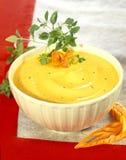 Sahne der Karotte- und Reissuppe Stockbild