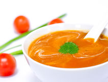 Sahne der Tomate-Suppe Stockbilder