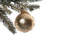 Sahne-und Goldweihnachtsflitter Stockbild