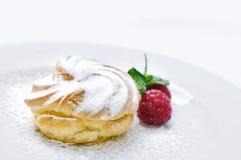 Sahnekuchen auf weißer Platte, Konditorei, Süßspeise, on-line-Shopphotographie, Kuchen mit Pulverzucker Stockfoto