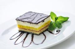 Sahnekuchen mit Belags- und Minzenblatt auf weißer Platte, Produktfotografie für Konditorei oder Shop, Süßspeise Lizenzfreies Stockfoto