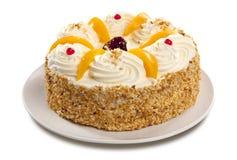 Sahnekuchen mit Pfirsichen Stockfoto
