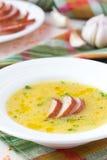 Sahnesuppe der roten Linse mit geräuchertem Fleisch, Ente, Huhn stockbilder