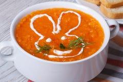 Sahnesuppe von Karotten für Kinder mit Häschennahaufnahme Stockbild