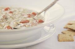 Sahnige Hühnerwildreis-Suppe Stockbild