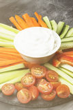 Sahnige Soße in der weißen Schüssel und in den verschiedenen Gemüsetomaten, Wechselstrom Stockfotografie