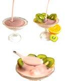 Sahniger Fruchtjoghurt Lizenzfreies Stockfoto