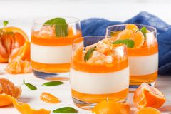 Sahniger panna Cotta mit orange Gelee in den schönen Gläsern, frische reife Mandarine, blaues Gewebe auf weißem hölzernem Hinterg Lizenzfreies Stockfoto