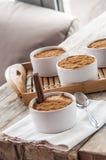 Sahniger Reispudding besprüht mit Zimt stockfotografie
