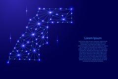 Sahrawi Demokratycznej republiki Arabska mapa poligonalna mozaika wykłada sieć, promienie i przestrzeń gra główna rolę wektorową  Zdjęcia Stock