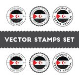 Sahrawi flag rubber stamps set. National flags grunge stamps. Country round badges collection Stock Photos
