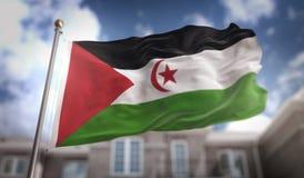 Sahrawi Zaznacza 3D rendering na niebieskie niebo budynku tle Fotografia Stock