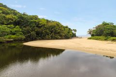 Sahy river flowing into the ocean Stock Photography