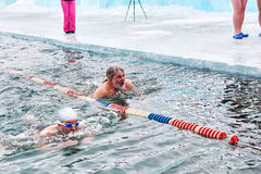 SAHYURTA, IRKUTSK region ROSJA, Marzec, - 11 2017: Filiżanka Baikal Zim Pływackie rywalizacje żabka zdjęcia royalty free