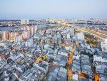 Sai Gon bridge and night landscape of Ho Chi Minh city Royalty Free Stock Photography