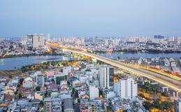 Sai Gon bridge and night landscape of Ho Chi Minh city Royalty Free Stock Photo