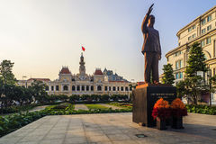 SAI GON WIETNAM, KWIECIEŃ, - 14, 2016: Historycznych Peoples Komitetowy budynek w Ho Chi Minh kwadracie Zdjęcia Stock