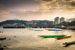 Sai Kung Public Harbour Magic Hour Royalty-vrije Stock Afbeeldingen