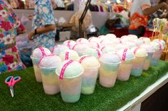 Sai Mai or Candy floss sweet and fluffy in glass plastic ready t stock photos