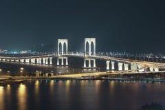 Sai Van Bridge alla notte Macao immagine stock libera da diritti