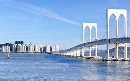 Sai Van bridge and building business Royalty Free Stock Images