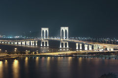 Sai Van Bridge at Night Macau Royalty Free Stock Image