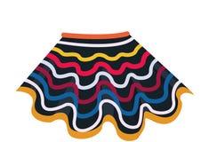 A saia latino-americano é preta com fitas coloridas Saia listrada Saia para danças nacionais ilustração do vetor
