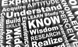 Saiba aprendem que as palavras 3d do conhecimento da sabedoria da educação rende Illustrati Fotografia de Stock Royalty Free