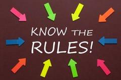 Saiba as regras imagem de stock royalty free