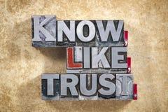 Saiba, como, palavras da confiança imagem de stock