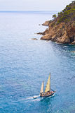 Saiboat  in Costa Brava Royalty Free Stock Images