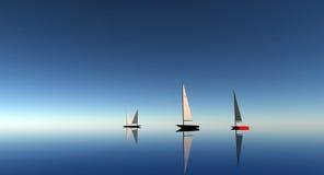 Saiboats op zee Stock Afbeeldingen