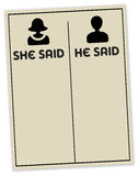 She said he said. Concept for gossip being passed from one person to another before it gets to the person that is being gossiped about Stock Images