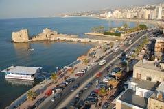Saida lebanon Crusader seas castle & the city Royalty Free Stock Photo