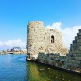 Saida See Castle Lebanon lizenzfreie stockfotos