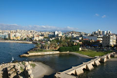 Saida / Sidon from the Crusaders Castle, Lebanon. View over Saida/ Sidon  from the Crusaders Castle, south Lebanon Stock Images