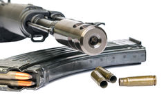 Saiga MK-03, bullet shells Royalty Free Stock Image