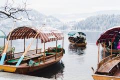 SAIGNÉ, LA SLOVÉNIE - JANVIER 2015 : le batelier transporte des touristes à l'île sur le lac image stock