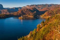 Saigné, la Slovénie - la vue panoramique d'horizon du lac a saigné avec le feuillage chaud d'automne Photos stock