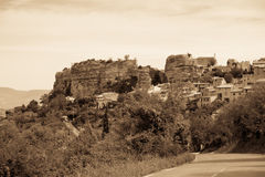Saignon village view in Provence, France. Summer landscape. Sepia toned shot Royalty Free Stock Photography