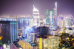 Saigon aerial at night, Vietnam. Very high resolution, 42.2 megapixels. Ho Chi Minh City formerly named Saigon, is the largest city in Vietnam. Urban Development stock images