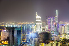 Saigon aerial at night, Vietnam stock photos