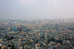 Saigon from the airplane window. An overview of density Saigon from the air stock photos