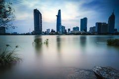 Saigon alla notte, Vietnam Fotografie Stock Libere da Diritti