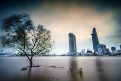 Saigon alla notte, Vietnam Fotografia Stock Libera da Diritti