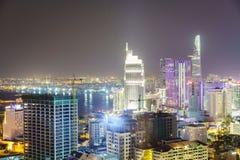 Saigon antenn på natten, Vietnam arkivfoton