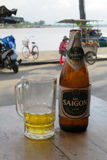 Saigon Beer Bottle and Glass Closeup Stock Photography